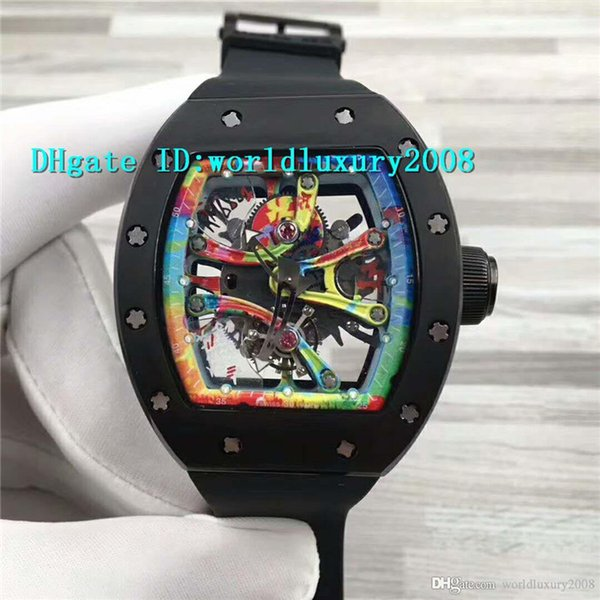 Top ARTISTS Graffiti RM68-01 Mens Watch Skeleton Dial Black Ceramic Case 8215 Automatic Movement Sapphire Crystal Sport Designer Watches