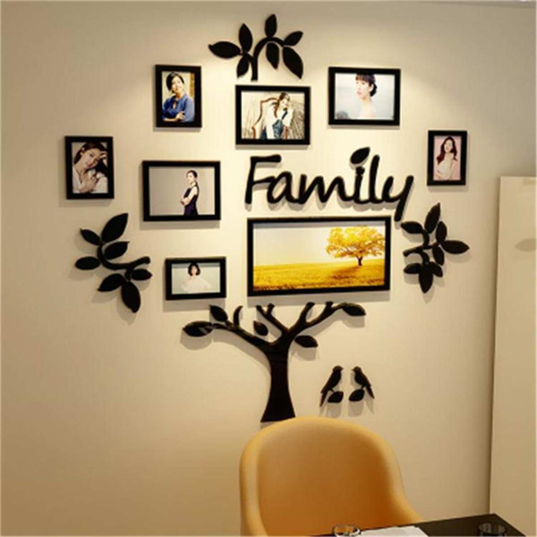 3D Arcylic DIY Family Photo Frame Tree Wall Sticker Home Decor Bedroom Art Picture Frame Wall Decals Poster S/M/L/XL