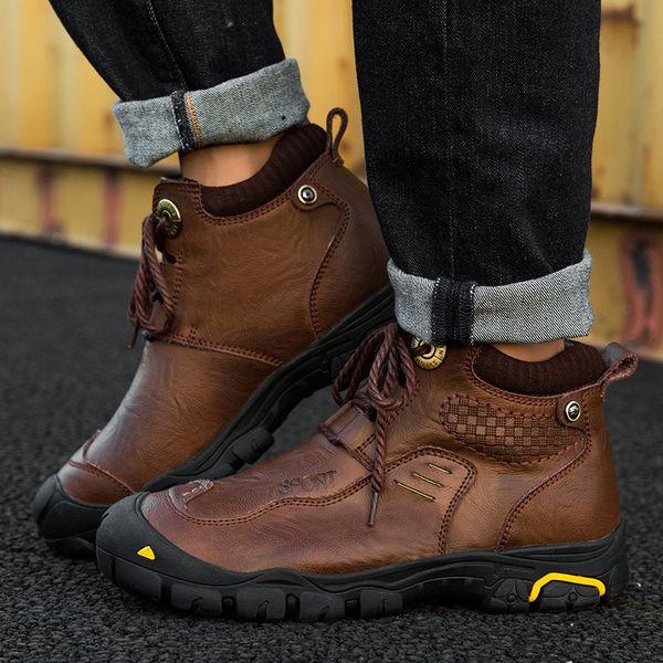 Homens Sapatos de Caminhada de Couro Genuíno Inverno À Prova D 'Água Sapatos de Pesca Manter Quente Camping Trekking Botas Ao Ar Livre Tamanho Grande 39-46