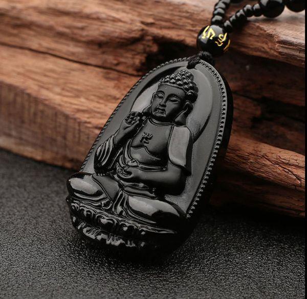 Natural Obsidiana Buda Guanyin colgante Men039; s Wear Guanyin Women039; s Pareja Dai Buda collar Nacional del viento