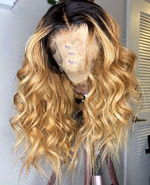 Onda Do corpo Ombre Lace Wig 1B # 27 Cheia Do Laço Perucas de Cabelo Humano 8A Não Transformados Brasileiro Lace Front Perucas Do Bebê Do Cabelo Para As Mulheres Negras