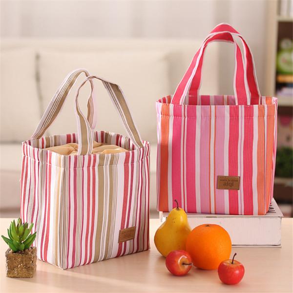 Designer-2017 Nuovi colori di moda coreana strisce patta sacchetti di cibo portatili borse con coulisse borse borse donna spedizione gratuita