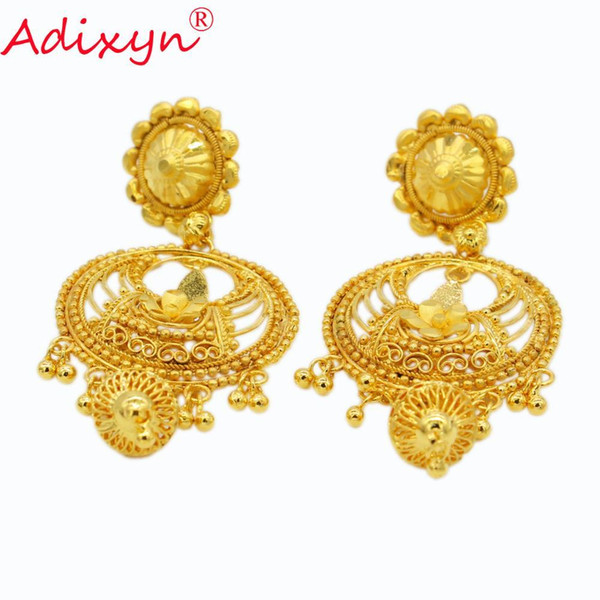2019 Adixyn New India Ethnic Earrings For Women Gold Color