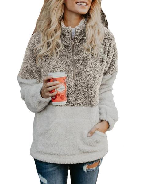 2019 Venta Caliente Otoño Invierno de Las Mujeres 1/4 Cremallera Sherpa Knit Suave Fleece Jersey ColorBlock Suéter Outwear Abrigo de canguro Bolsillos