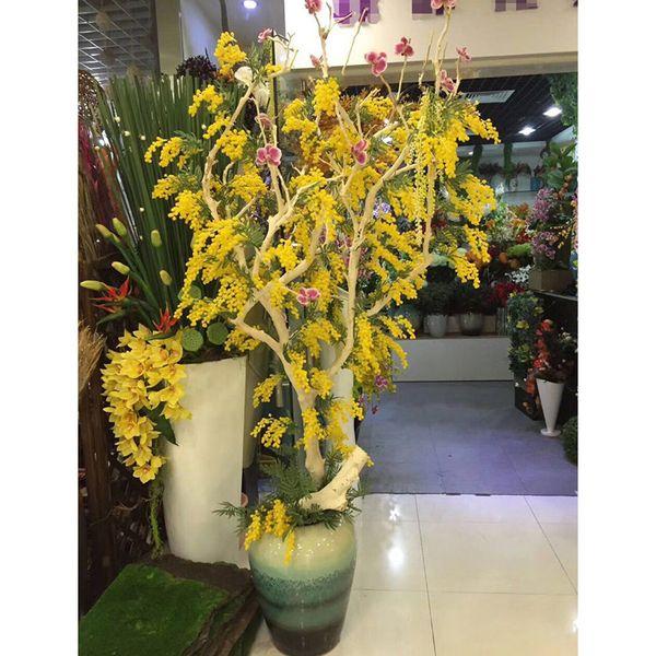 Bouquet Durable Decorations Plastic Fake Bundles Romantic Wedding Artificial Flower Gift Home Desktop Party Acacia Bean Branch