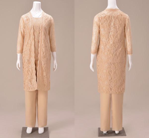 2019 Altın Moda Üç Adet anne Gelin Pantolon Takım Elbise Dantel uzun Ceket Kollu Şifon Anne Düğün Parti için Tulum Suits