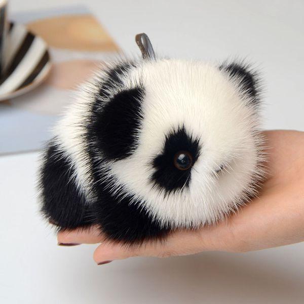 Nova Moda Bonito Panda Keychain Macio Bola Real Car Keyrings Pompom Chaveiro Mulheres Saco de Boneca de Brinquedo Pingente Acessórios DIY