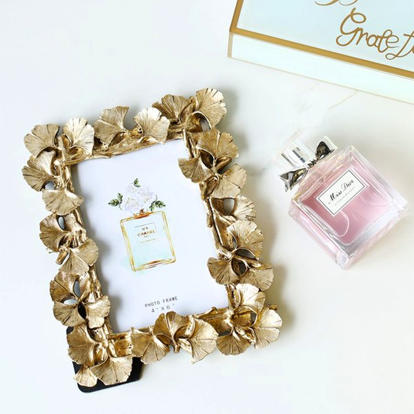 2019 new European leaves Photo frame Creative home decoration Wedding couple recommended picture frame Gold silver