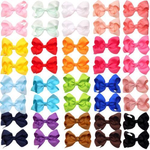 HOT SALE 3 Inch Soild Kids Girls Ribbon Hair Bow Clips with Hairpins Boutique Hairclips Hair Accessories Handmade Princess Headwear 80pcs/