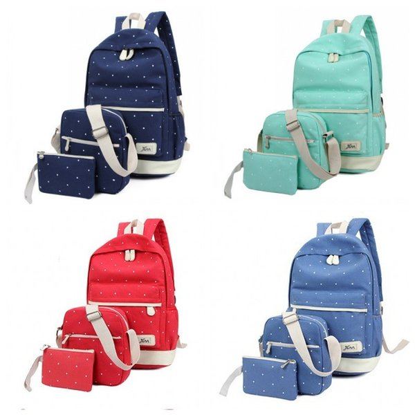 3Pcs Wave Point Pattern Canvas Students Mochila Estilo simple Bolsa de hombro Combinación popular Otoño e invierno Venta caliente 21dlH1