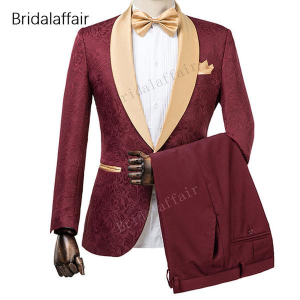 Wonderful New Designs Custom Made Tuxedo Burgundy Imprimé Hommes Costume Ensemble Pour Mariage De Bal Costumes (Veste + Pantalon Noir)