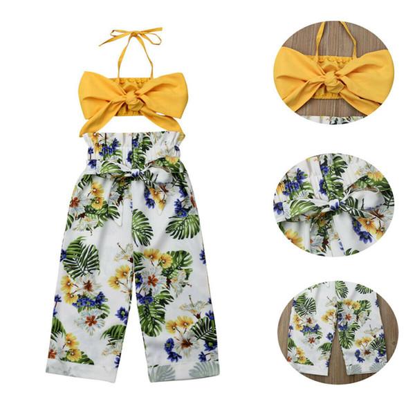 2019 nuova moda estate bambino bambino ragazza ragazza abiti floreali bambine cinghia gilet top + pantaloni 2 pezzi abbigliamento set 1-5 t vestiti estivi