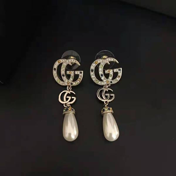 Новые поступления Старинные латунные роскошные дизайнерские украшения женские серьги Серьги-буквы GG с Разноцветными бриллиантами и жемчугом подарок ювелирной моды