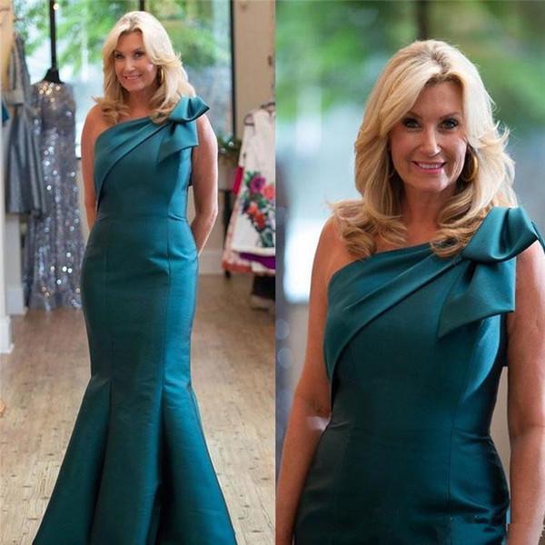Plus Size una spalla Raso Madre della Sposa Abito Mermaid maniche pavimento su ordine Invitato a un matrimonio Madri abito da sera
