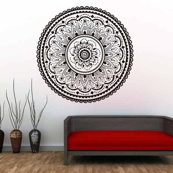 1 Pcs Mandalas Indian Pattern Wall Decals Home Decorative Namaste Yoga Wall Stickers Removable Wallpaper Modern Style Home Decor