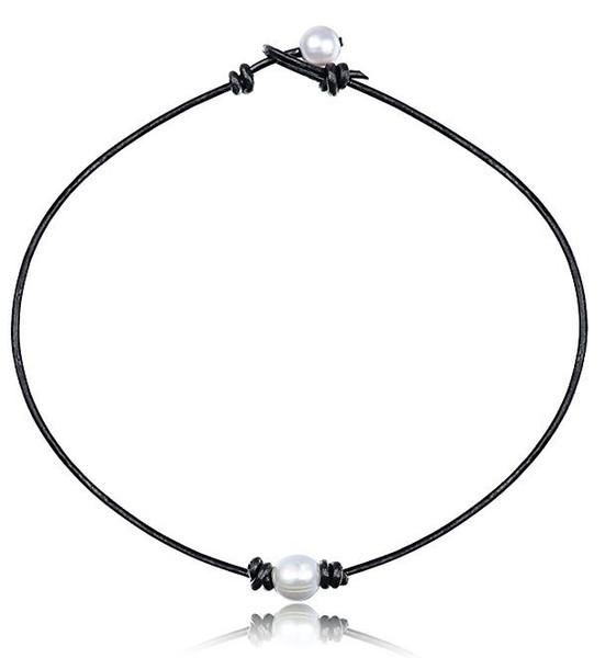 2019 Nueva Moda Simple Blanco Tres Perlas Collar de Cuero Para Mujeres Señoras Niñas Fiesta de Cumpleaños Regalos de Boda Joyería Al Por Mayor