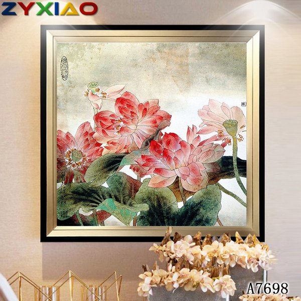 ZYXIAO Lotus flower lake Print Wall Oil Painting Art picture print on canvas No Frame for bedroom living home mosaic decor gift A7698