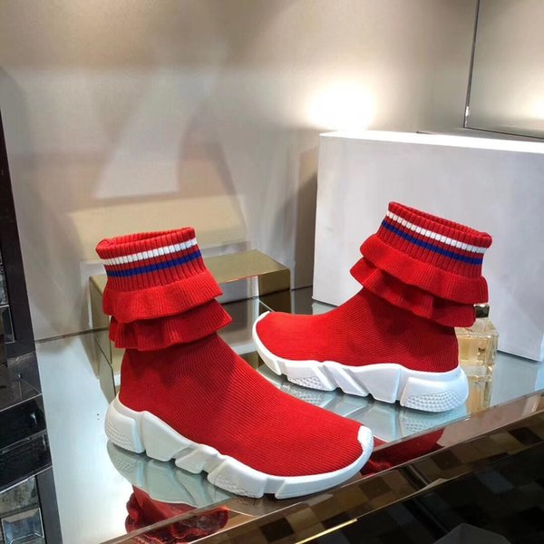 Luxury Speed Sneakers Fold Skirt Mens Womens Sweethearts Couple Sneakers Sock Boot Textile Upper High -Top Stretch Knit Sneaker Boots 11