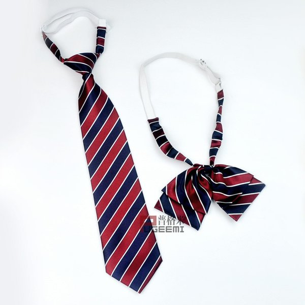 fashionable tibetan blue red stripe student children's bow tie and tie service student customization bow fake collar