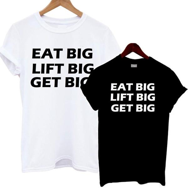 Coma Grande Levante Grande Obter Grande Camiseta Ginásio Ginásio Citação Motivação Dieta De Alimentos Trem cor camisa impressão Camisa de t
