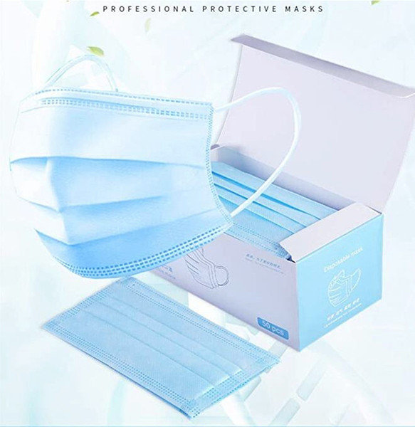 best selling 2020 High Quality Face Masks Disposable 3 Layers Dustproof Mask Facial Protective Cover Masks Set Anti-Dust Mask with English Box