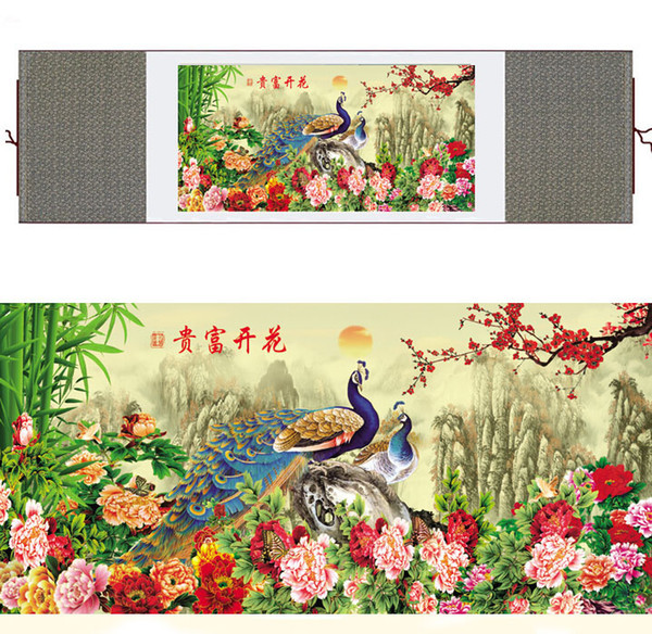Chinese Traditional Art Painting Birds In The Water Silk Scroll Painting Peacock Paintingprinted Painting