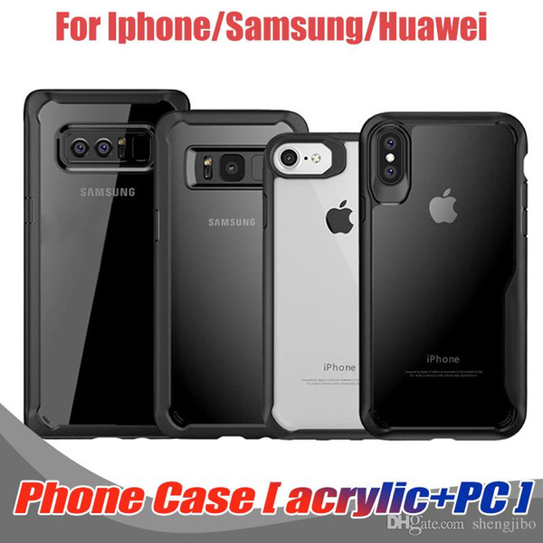 100PCS/Lot For Iphone X 7 8Plus Hybrid Soft TPU Bumper+Clear PC Back Cover phone case For Samsung S8 S9 plus For Huawei P20 lite