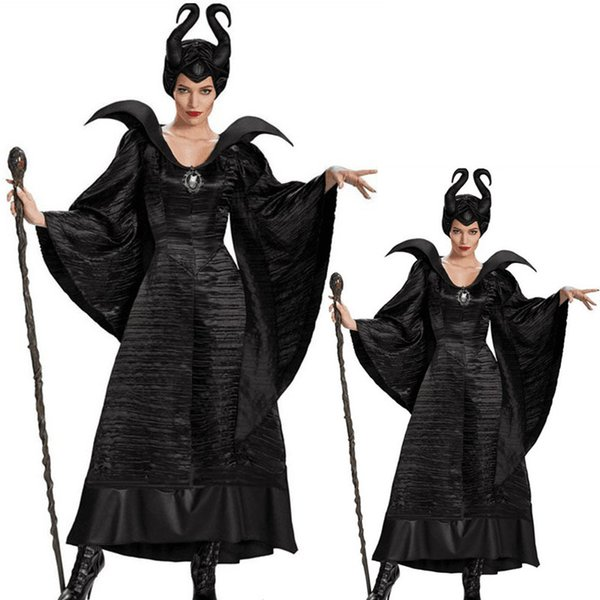 Movie Maleficent Outfits Costume Girls Dress Black Sleeping Beauty Queen Maleficent Cosplay Witch Costume Adult Women Best Halloween Group Costumes 4