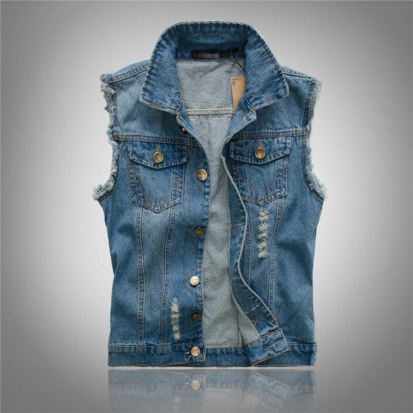 Slim men Denim Vest Light Color Vest Shoulder Tide Hole Large Size Cowboy Vintage Bleached Turn-down Collar Male Coat