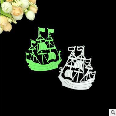 Tarjeta de invitación del marco del bote de vela Troqueles de corte de metal para el álbum de Scrapbooking Invitación de bodas Carpeta de grabación en relieve de papel Tarjetas de papel