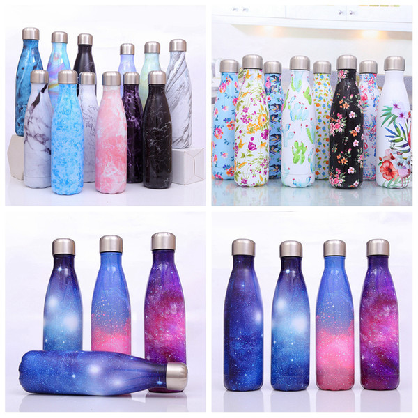 500ml Cola Shaped water bottle Floral galaxy print Stainless steel tumbler Vacuum Travel Sport Thermos Coffee Cup Mug 23styles LJJA3216