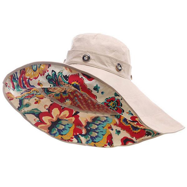 Kadınlar UV Koruma Büyük Brim Plaj Güneş Şapkalar Outdoor İçin Moda Tasarımı Çiçek Katlanabilir Brimmed Güneş Şapka Yaz Şapka