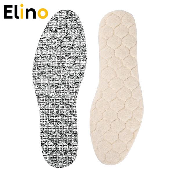 Elino warme Einlegesohlen aus Wollfilz aus Schaffell Winterwärmende Einlegesohlen für Schneeschuhe Beheizte Schuhpolster aus Wollaluminium Dicke Füße Kissen