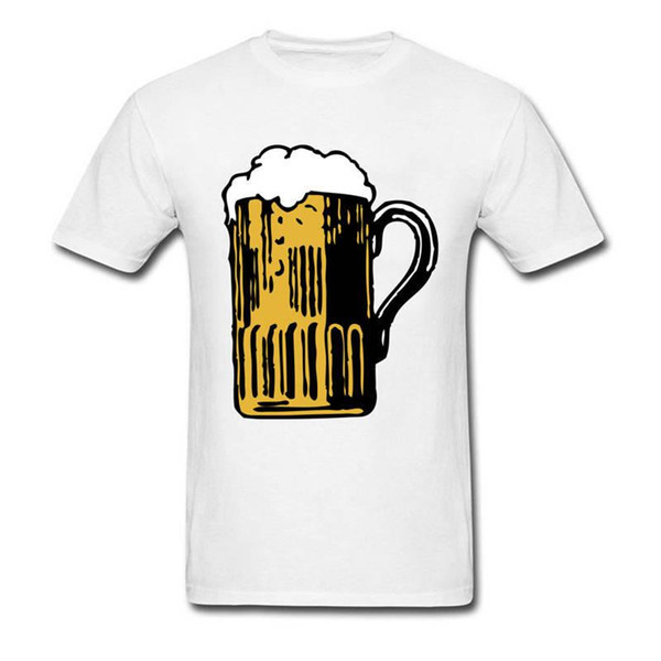T Shirts 2018 Clothes Slim Fit Printing O-Neck Short Foamy Mug Of Beer New Style Tee Shirt For Men