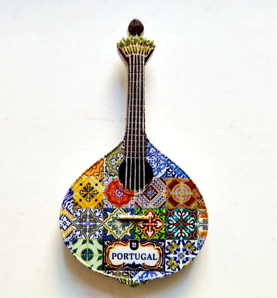 Handmade Painted Portugal Guitar 3D Resin Fridge Magnets Tourism Souvenirs Refrigerator Magnetic Stickers Gift Home Decor