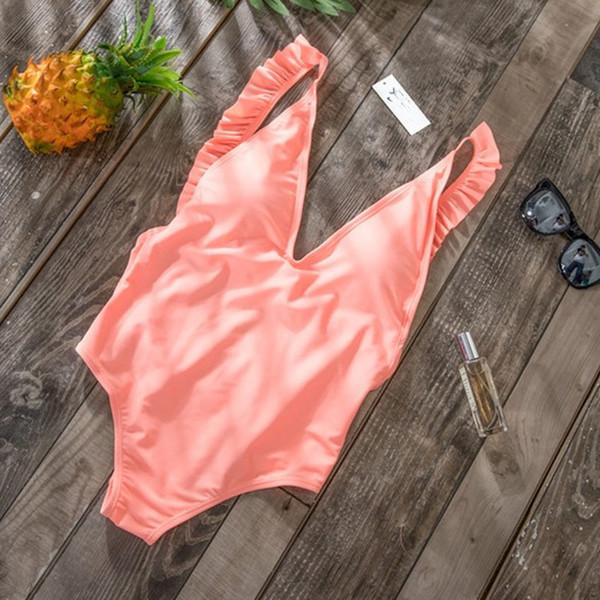 2019 Sexy Off Shoulder Swimwear Women Swimsuit Print Solid One Piece Swimsuit Ruffle Bathing Suit Beach Backless Monokini Swim Y19051801