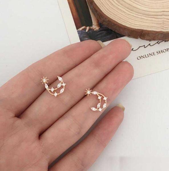 Новый дизайн полые звезды месяц серьги женщины девушки милый бриллиант маленькие серьги ювелирные изделия лучший подарок для подруги