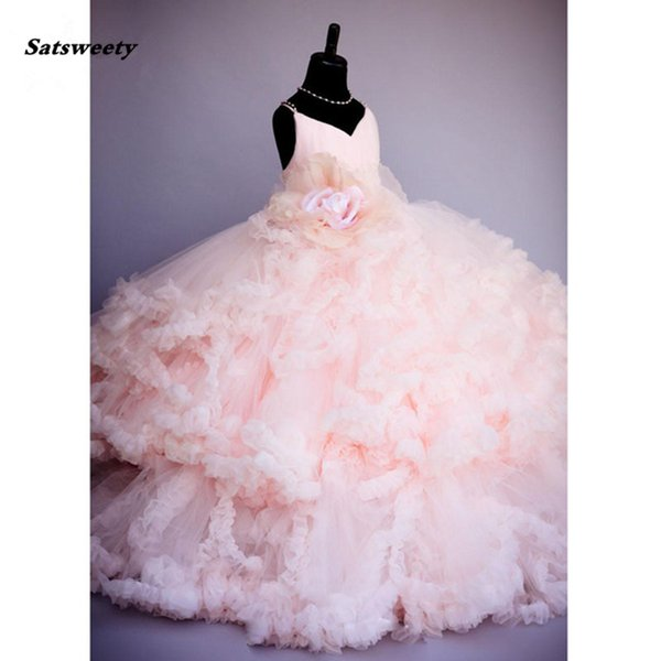 2019 Pink Flower Pageant Dresses For Girls Kids Ball Gowns Tiered Ruffles Backless First Communion Dresses For Girls To Wedding