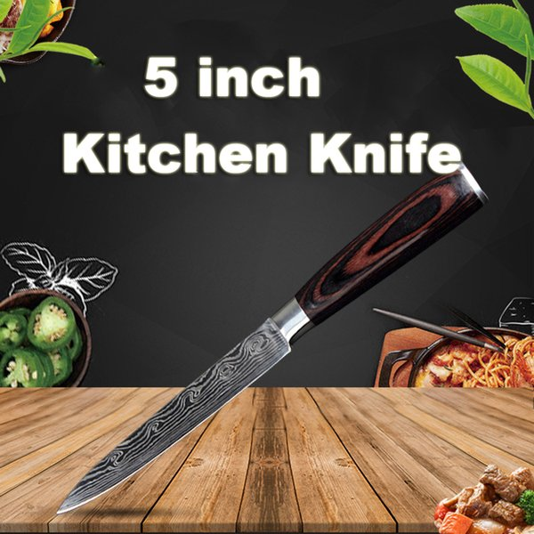 Damascus Stainless Steel Kitchen Knives 5 inch Durable Kitchen Knife Chef Knife Wooden Handle Sharp Cleaver Slicing Knives Gift BC BH1478