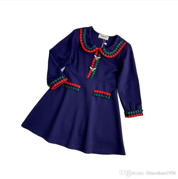 new girls cotton color matching dress / dress love embroidery skirt garden princess cute skirt