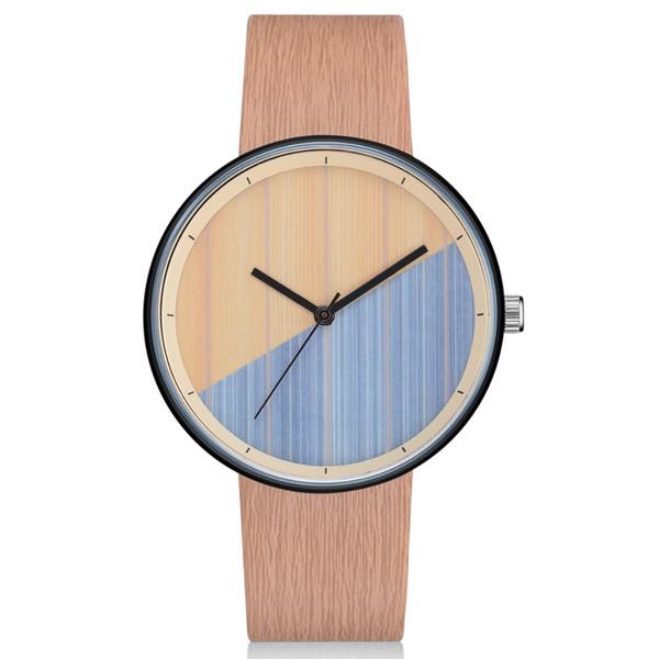 2019 nuevo patrón de moda simple Wild Joker Reloj de cuarzo Textura de árbol relojes de pulsera pu Viento frío Tendencias creativas Relojes literarios para hombres