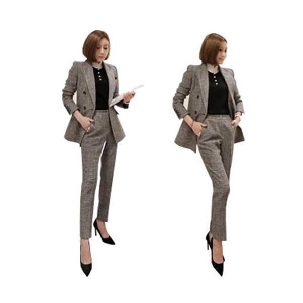 Traje de traje de ocio de moda para mujer Primavera Nueva gris Ocio chaqueta de traje cruzado + Pantalones de oficina de dos piezas mujeres