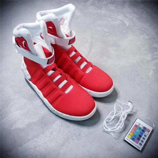 Mais novo Air Mag Mens De Volta Para O Futuro Mags Iluminação Homens Sapatos Casuais Luzes LED High Top Sneakers Cinza Preto Com Caixas Amarelas Tamanho 40-46