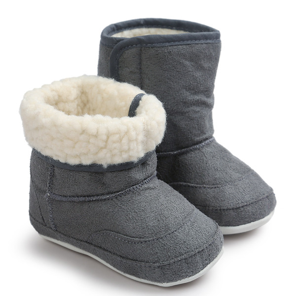 winter baby boys girls infants warm shoes Baby Soft Sole Snow Boots Soft Crib Shoes Toddler booties Leather boy boots #3