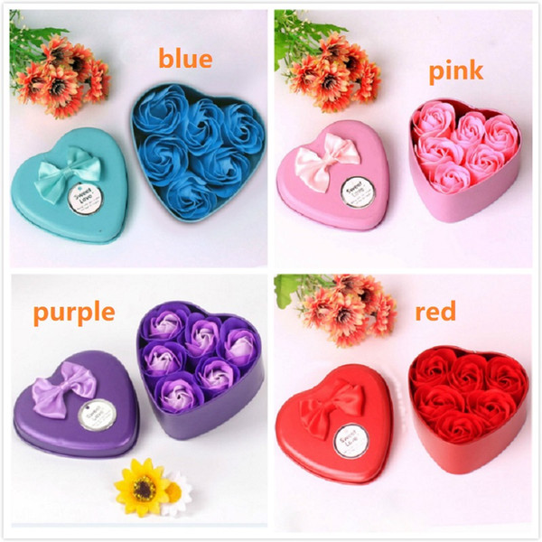 best selling Flower Soap Rose Soap 6Pcs Heart Scented Bath Body Petal Rose Flower Soap Case Wedding Decoration Gift Festival Box