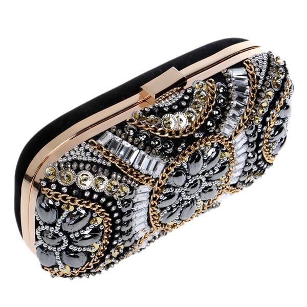 Damen Kristall Abendtasche Retro Perlen Clutch Taschen Hochzeit Diamant Perlen Tasche Strass Kleine Umhängetaschen