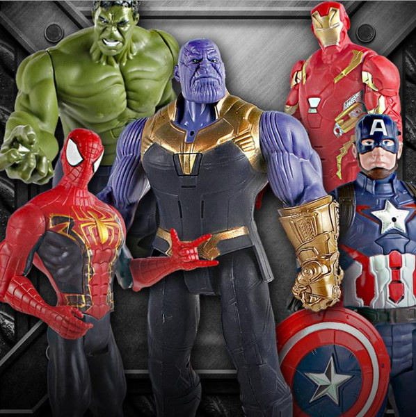 Marvel The Avengers Toys Infinity War Thanos Hulk Buster Spiderman Iron Man Captain America Thor Action Figure Collection Dolls