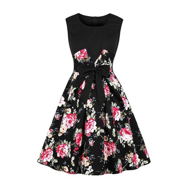 Women Midi Dresses Casual Elegant Black Vintage Aline Zipper Print Floral  Office Lady Female Fashion Retro Preppy Style Dress 266a1c65443d