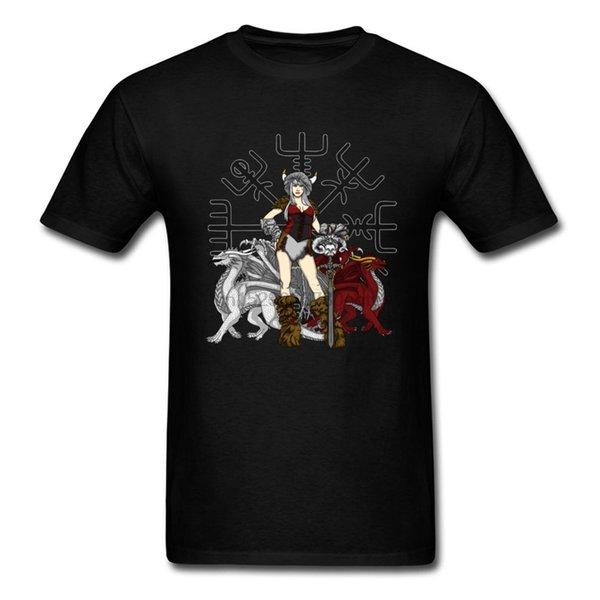 Viking 2019 hombres Negro Camiseta salvaje belleza Sin Fundido Imprimir hombre del modelo atractivo de las mujeres camiseta fresca de la calle Tops Xxxl