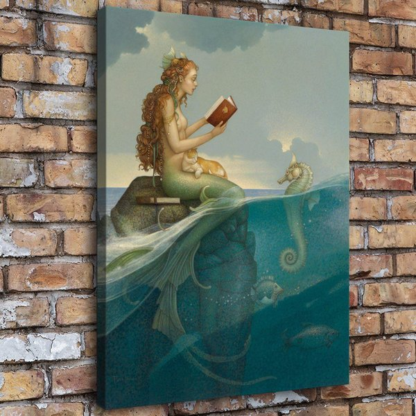 Mermaid Series,Home Decor HD Printed Modern Art Painting on Canvas (Unframed/Framed)